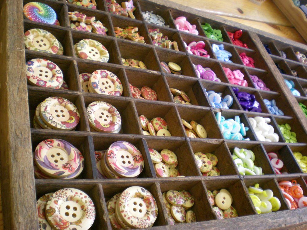 Button display in a crafts shop