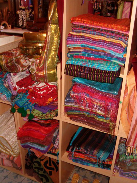 Scarves display in ethnic retail store
