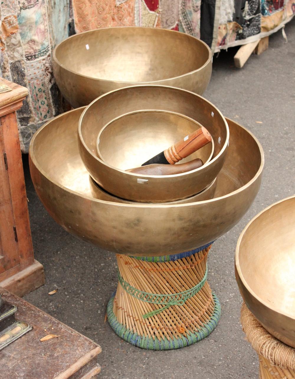 Huge tibetan singing bowl on display at a market