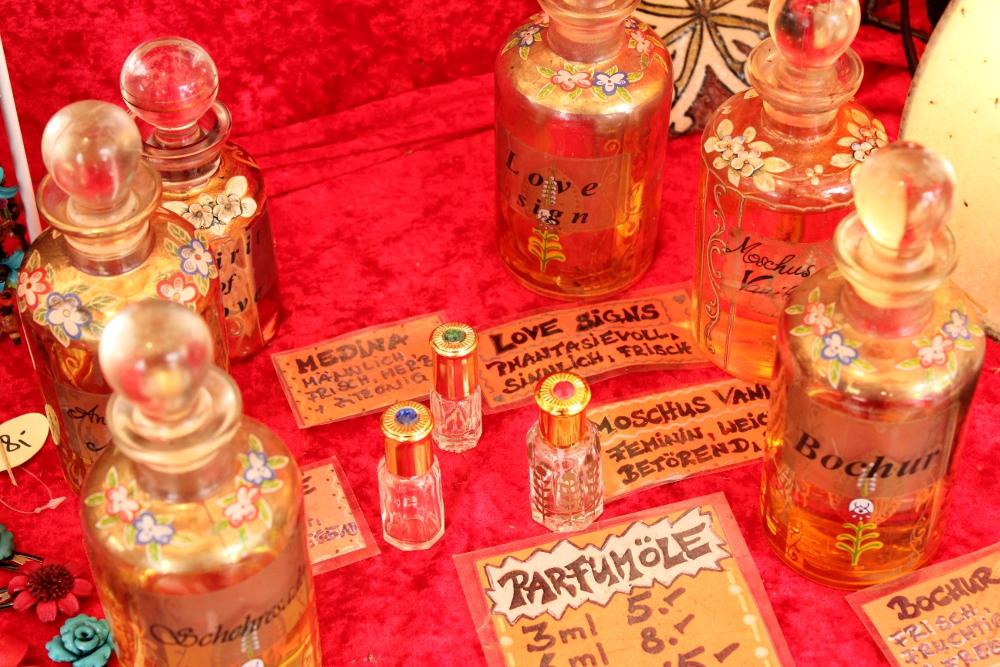 Love spell perfume oils in glass bottles