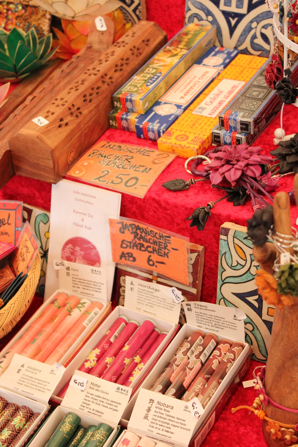 Variety of Incense sticks sold at a market