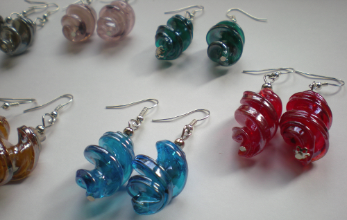 Twisted glass earrings from Asia